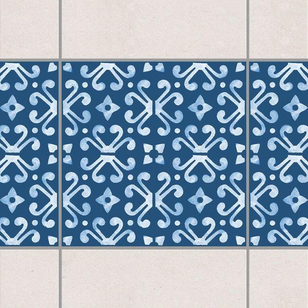 Produktfoto Fliesen Bordüre - Dunkelblau Weiß Muster Serie No.07 - 10cm x 10cm Fliesensticker Set