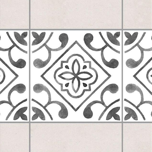 Produktfoto Fliesen Bordüre - Muster Grau Weiß Serie No.2 - 10cm x 10cm Fliesensticker Set