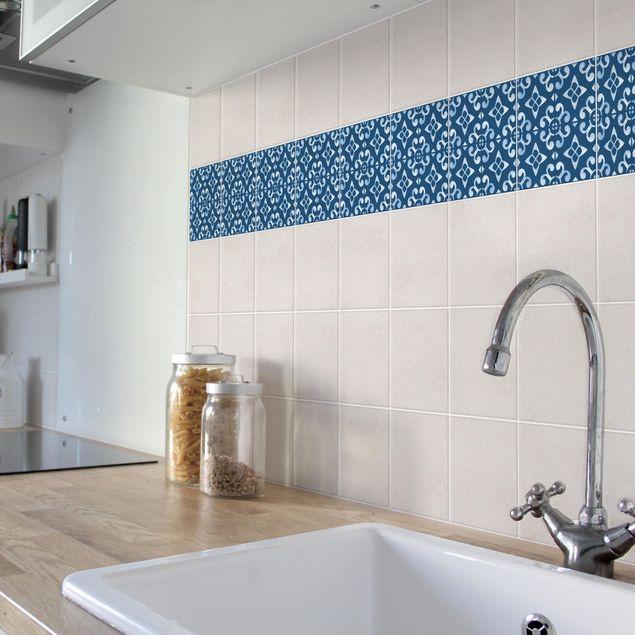 Produktfoto Fliesen Bordüre - Dunkelblau Weiß Muster Serie No.05 - 15cm x 15cm Fliesensticker Set
