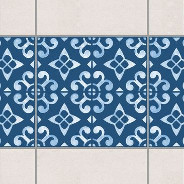 Product picture Tile Border - Dark Blue White Pattern...