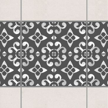 Product picture Tile Border - Dark Gray White Pattern...