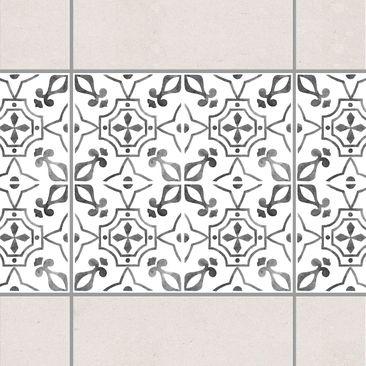 Produktfoto Fliesen Bordüre - Grau Weiß Muster Serie No.9 - 15cm x 15cm Fliesensticker Set