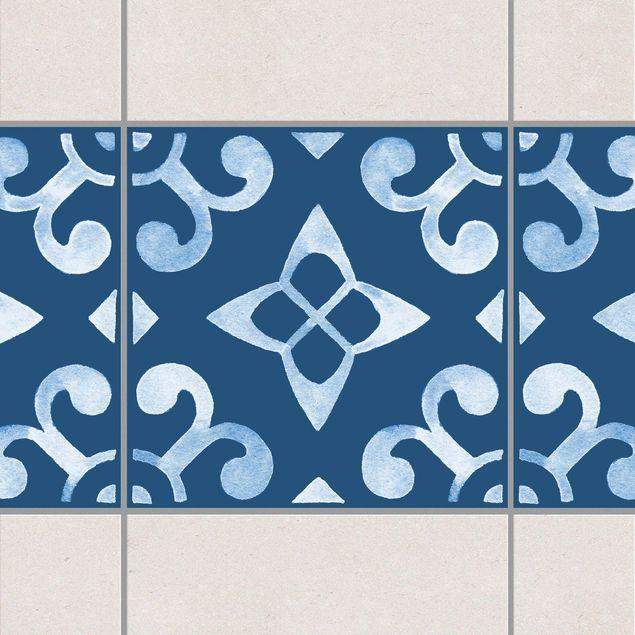 Produktfoto Fliesen Bordüre - Muster Dunkelblau Weiß Serie No.5 - 15cm x 15cm Fliesensticker Set