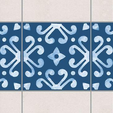 Produktfoto Fliesen Bordüre - Muster Dunkelblau Weiß Serie No.7 - 15cm x 15cm Fliesensticker Set