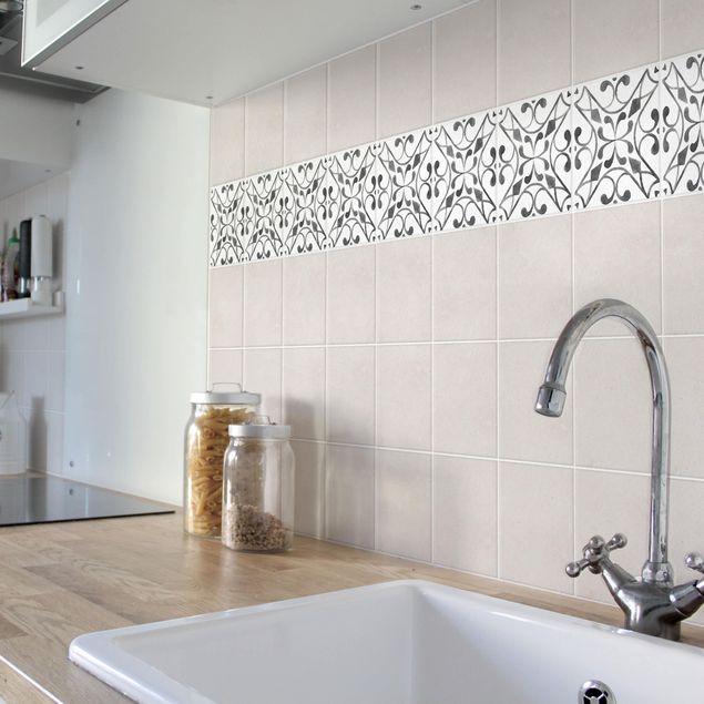 Produktfoto Fliesen Bordüre - Muster Grau Weiß Serie No.3 - 15cm x 15cm Fliesensticker Set