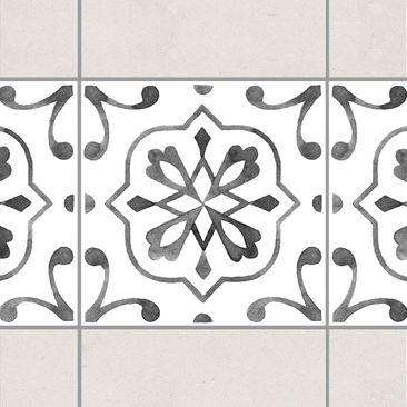 Produktfoto Fliesen Bordüre - Muster Grau Weiß...