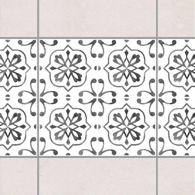 Produktfoto Fliesen Bordüre - Grau Weiß Muster Serie No.4 - 20cm x 20cm Fliesensticker Set