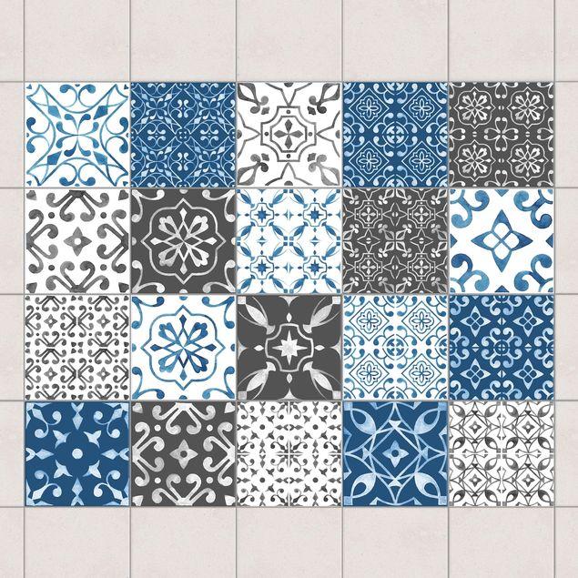Produktfoto Fliesenaufkleber 20er Set - Aquarell Muster Mix Grau Blau - 10cm x 10cm Fliesensticker Set
