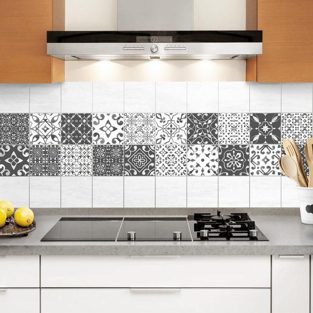 Produktfoto Fliesenaufkleber 20er Set - Farbmix Muster Grau Weiß - 10cm x 10cm Fliesensticker Set