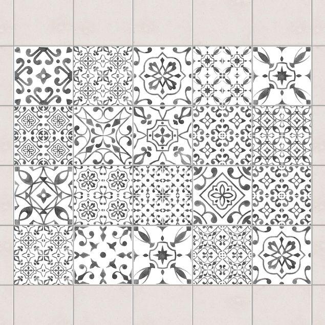 Produktfoto Fliesenaufkleber 20er Set - Grau Weiß Muster Mix - 10cm x 10cm Fliesensticker Set