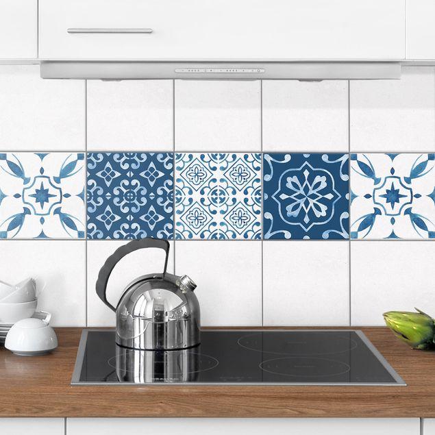 Produktfoto Fliesenaufkleber 4er Set - Aquarell Muster Blau Weiß No.1 - 10cm x 10cm Fliesensticker Set