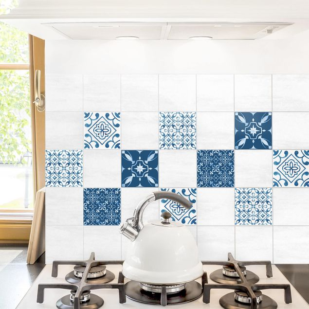Produktfoto Fliesenaufkleber 4er Set - Aquarell Muster Blau Weiß No.2 - 10cm x 10cm Fliesensticker Set