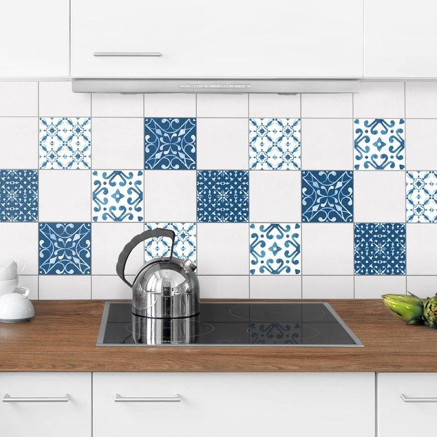 Produktfoto Fliesenaufkleber 4er Set - Aquarell Muster Blau Weiß No.3 - 10cm x 10cm Fliesensticker Set