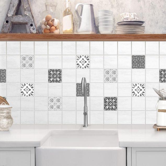 Produktfoto Fliesenaufkleber 4er Set - Aquarell Muster Grau Weiß No.1 - 10cm x 10cm Fliesensticker Set