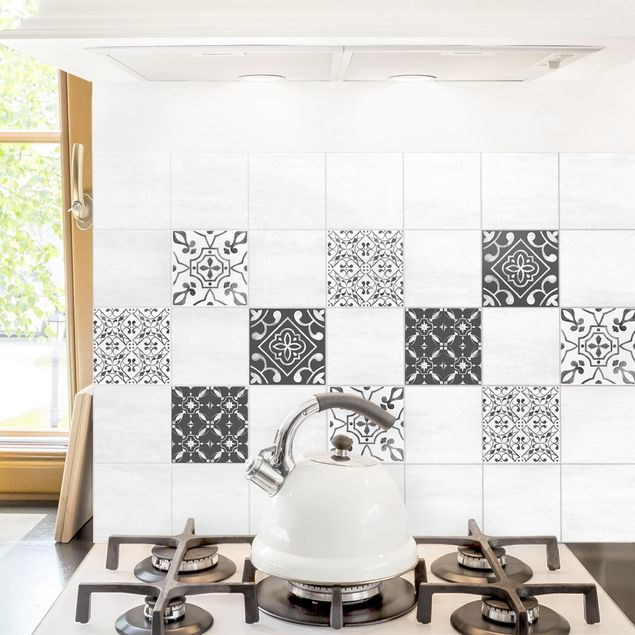 Produktfoto Fliesenaufkleber 4er Set - Aquarell Muster Grau Weiß No.3 - 10cm x 10cm Fliesensticker Set