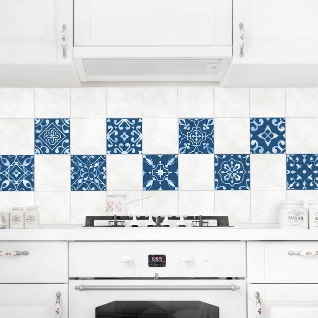 Produktfoto Fliesenaufkleber 9er Set - Muster Dunkelblau Weiß Serie - 10cm x 10cm Fliesensticker Set