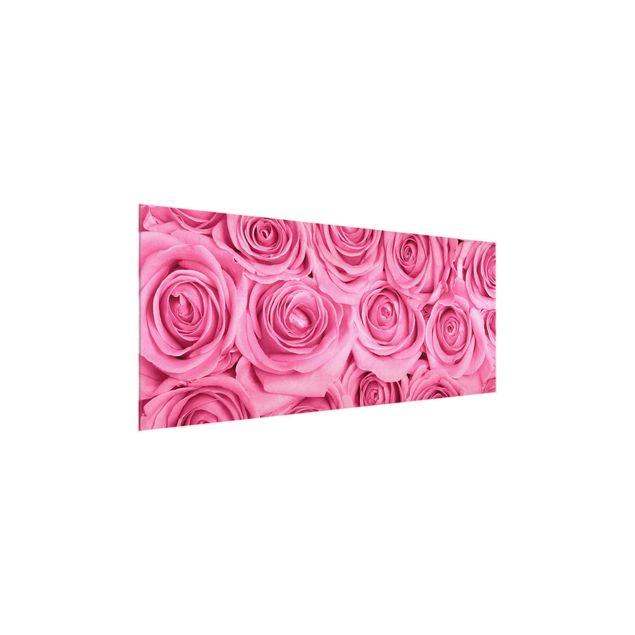 Produktfoto Glasbild - Rosa Rosen - Panorama