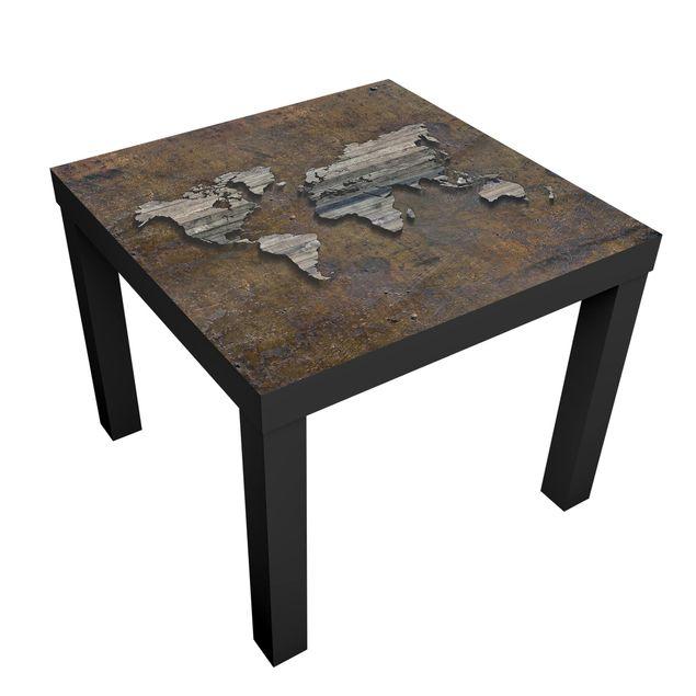 Produktfoto Beistelltisch - Holz Rost Weltkarte