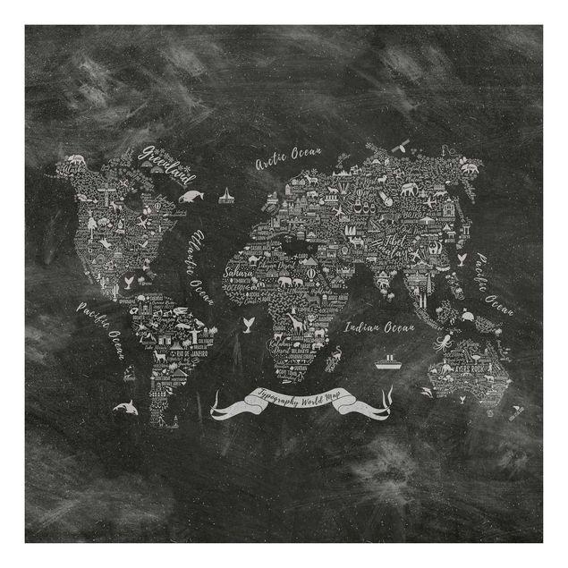 Produktfoto Beistelltisch - Kreide Typografie Weltkarte