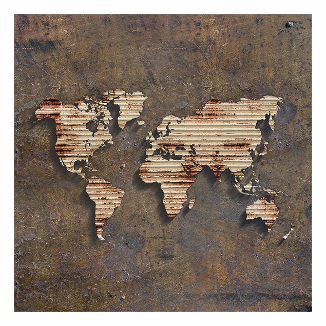 Produktfoto Beistelltisch - Rost Weltkarte