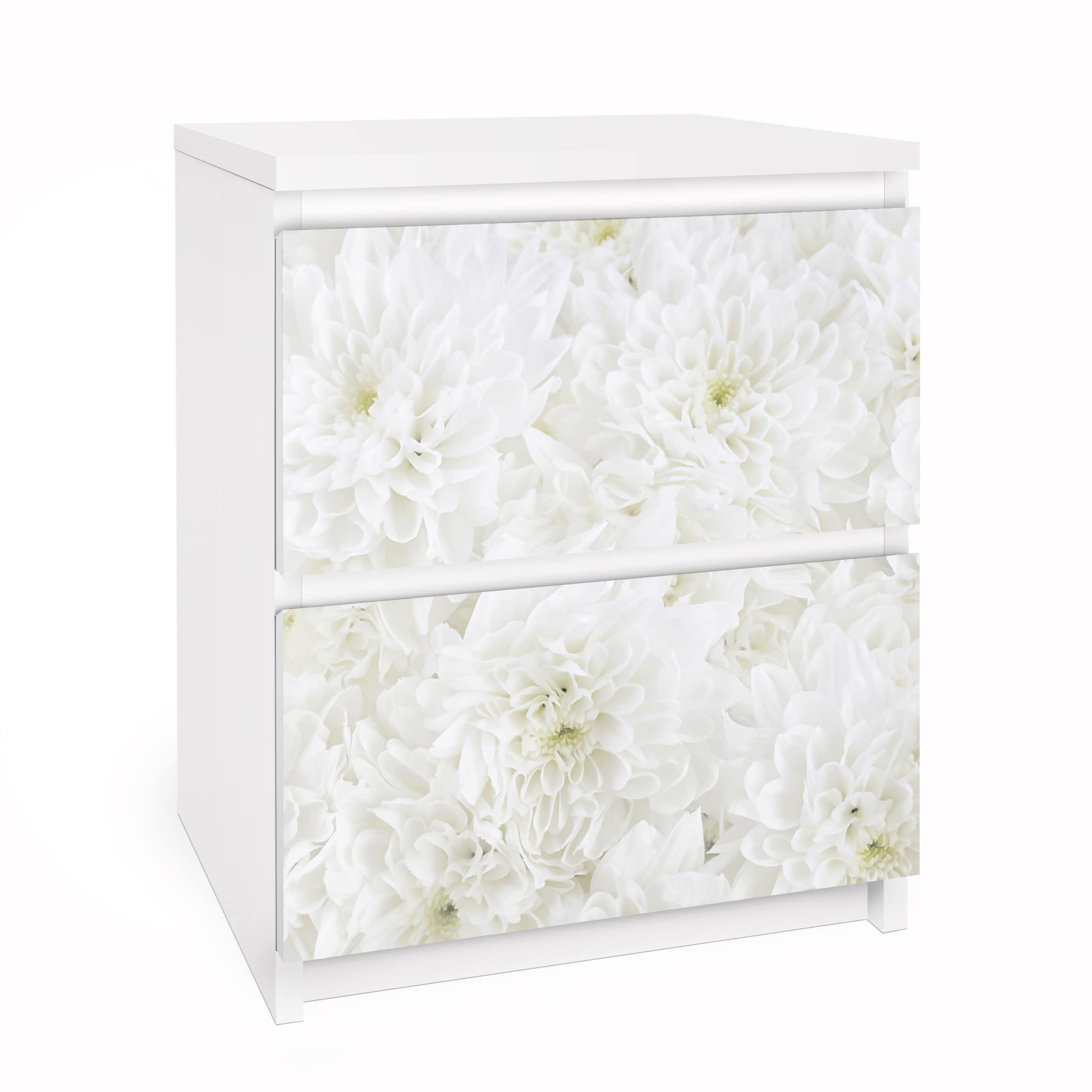 Furniture Decal For Ikea Malm Dresser 2xdrawers Dahlias Flower Sea White