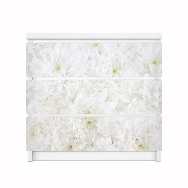 Produktfoto Möbelfolie für IKEA Malm Kommode - Dahlien Blumenmeer weiß - Selbstklebefolie