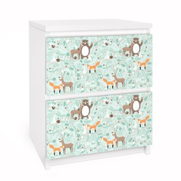 Furniture Decal for IKEA Malm Dresser 2xDrawers - Kids Pattern Forest  Friends With Forest Animals