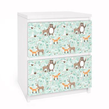 Immagine del prodotto Carta adesiva per mobili IKEA Malm Cassettiera 2xCassetti - Kids Pattern Forest Friends With Forest Animals