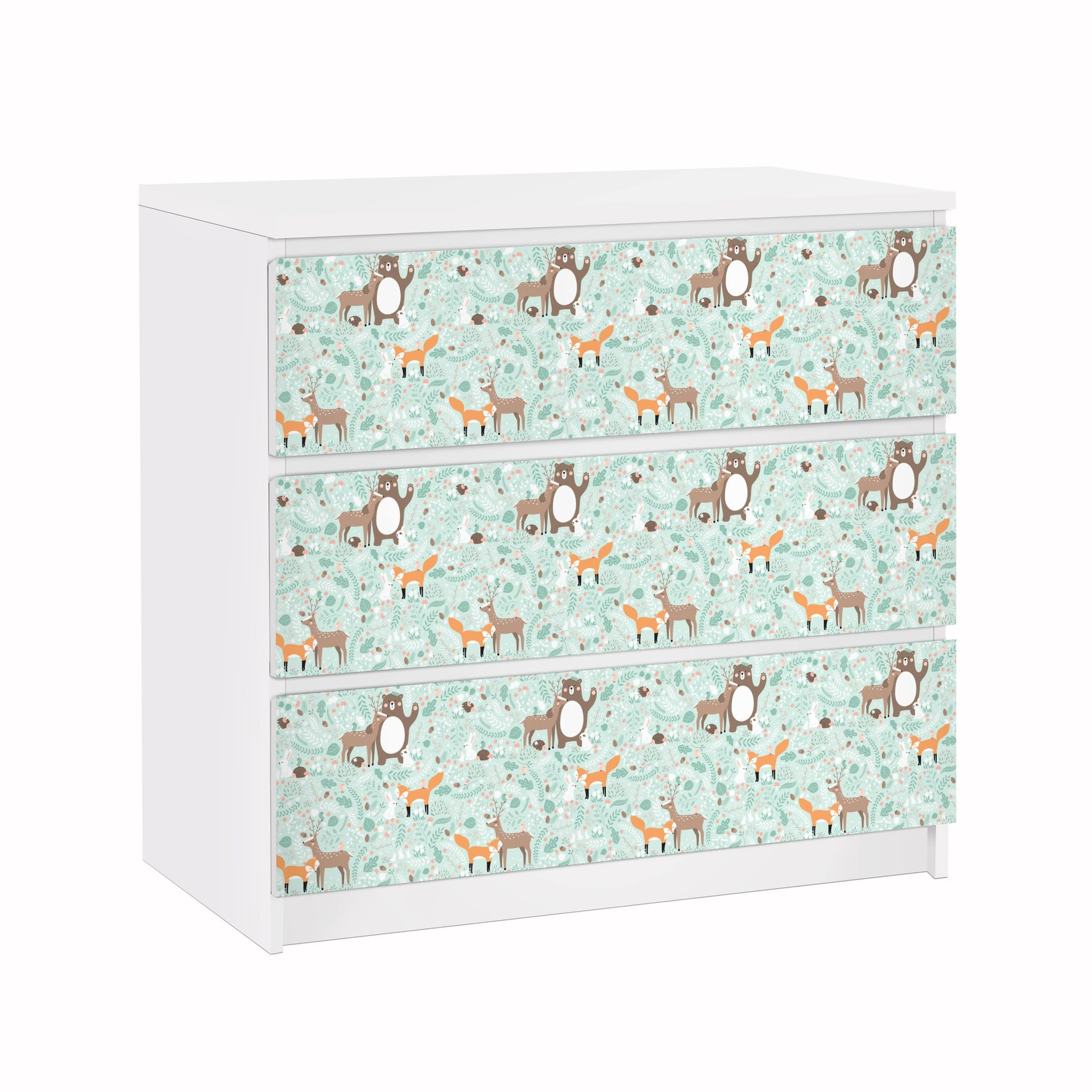 Furniture Decal for IKEA Malm Dresser 3xDrawers - Kids Pattern Forest  Friends With Forest Animals