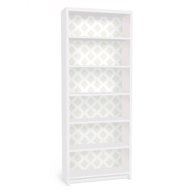 Produktfoto Möbelfolie für IKEA Billy Regal - Rautengitter hellbeige