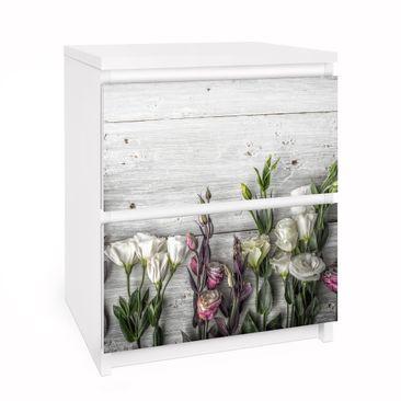 Immagine del prodotto Carta adesiva per mobili IKEA Malm Cassettiera 2xCassetti - Tulip Rose Shabby Wood Look