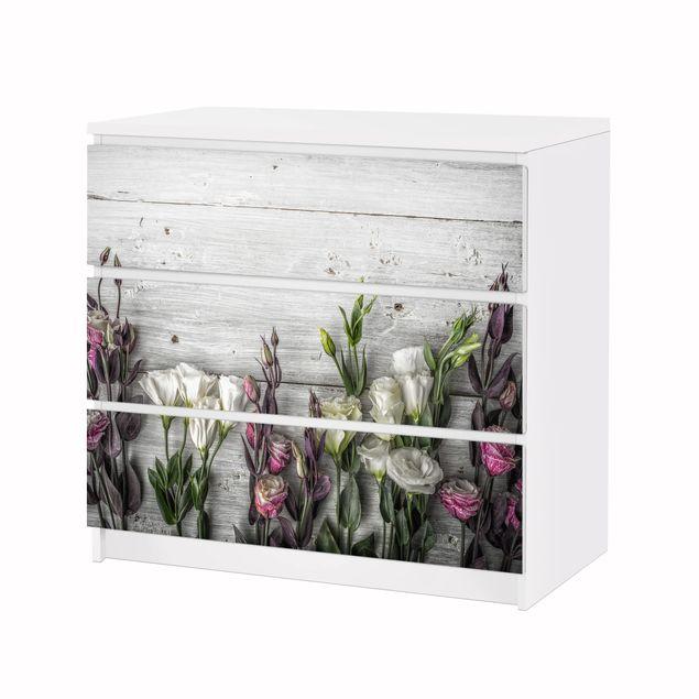 Produktfoto Möbelfolie für IKEA Malm Kommode - Tulpen-Rose Shabby Holzoptik - Selbstklebefolie