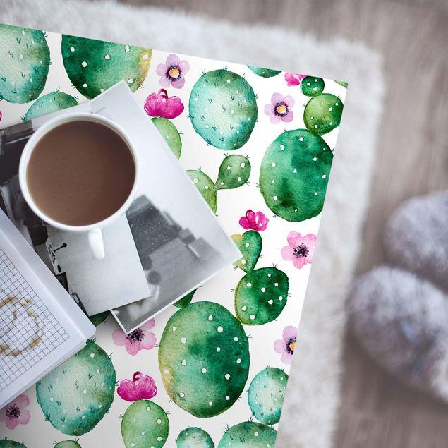 Produktfoto Möbelfolie - Kaktus mit Blüten Aquarell