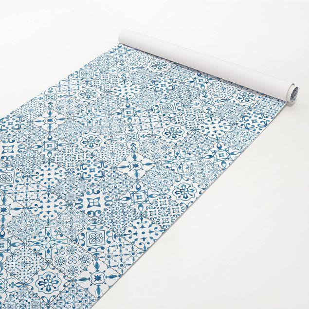 Produktfoto Möbelfolie - Musterfliesen Blau Weiß