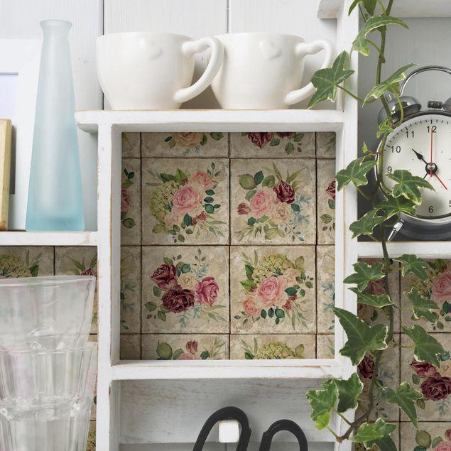 Produktfoto Möbelfolie - Vintage Rosen und Hortensien