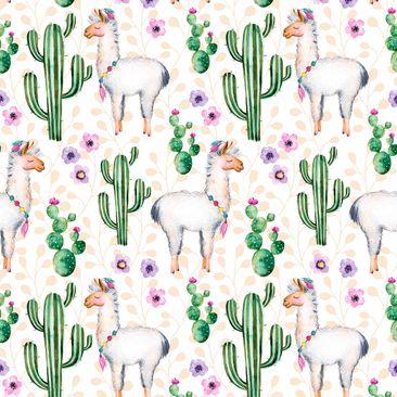 Produktfoto Klebefolie - Lama und Kakteen Aquarell
