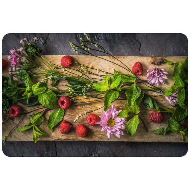 Produktfoto Selbstklebendes Wandbild - Blumen Himbeeren Minze - Querformat 2:3