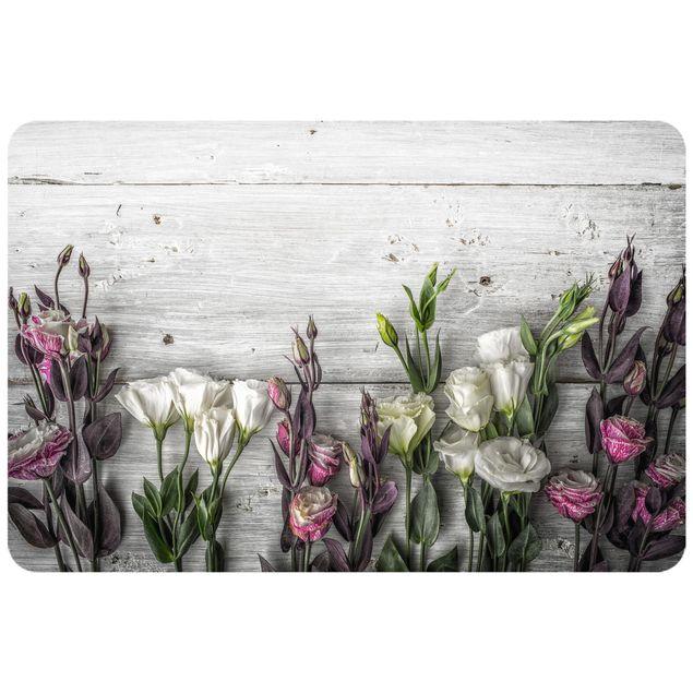 Produktfoto Selbstklebendes Wandbild - Tulpen-Rose Shabby Holzoptik - Querformat 2:3