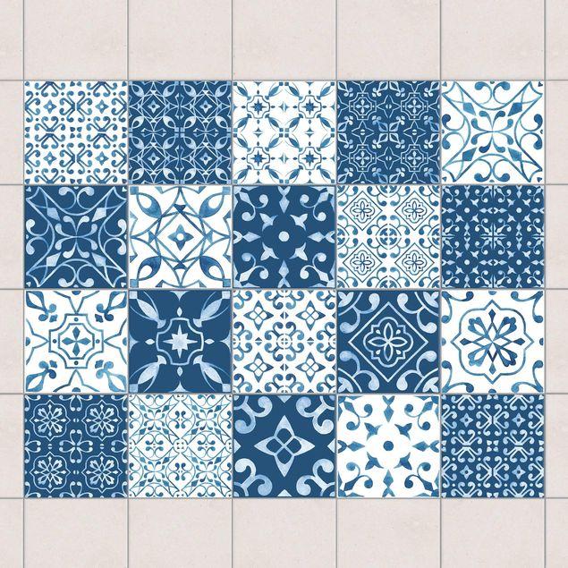 Produktfoto Fliesenaufkleber 20er Set - Farbmix Muster Blau Weiß - 15cm x 15cm Fliesensticker Set