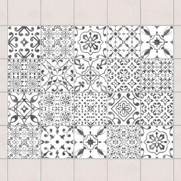 Immagine del prodotto Adesivo per piastrelle - Gray White Pattern Mix - Mix 15cm x 15cm