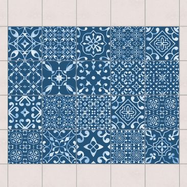 Immagine del prodotto Adesivo per piastrelle - Mix Patterns Navy White - Mix 15cm x 15cm