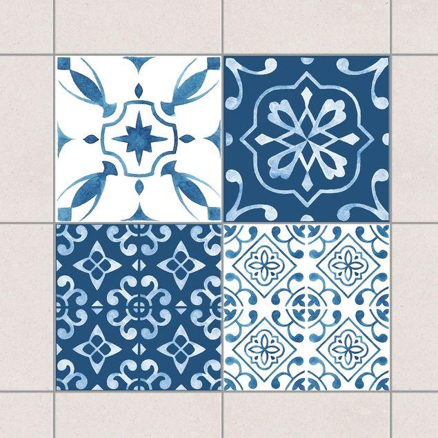 Produktfoto Fliesenaufkleber 4er Set - Aquarell Muster Blau Weiß No.1 - 15cm x 15cm Fliesensticker Set