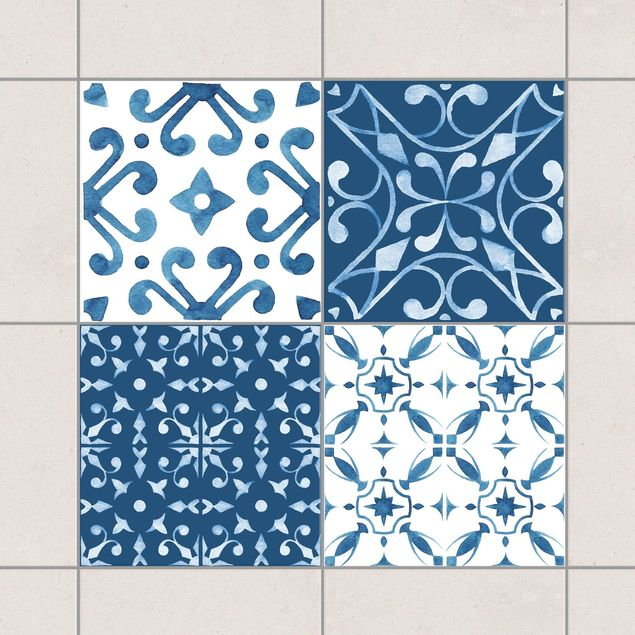 Produktfoto Fliesenaufkleber 4er Set - Aquarell Muster Blau Weiß No.3 - 15cm x 15cm Fliesensticker Set