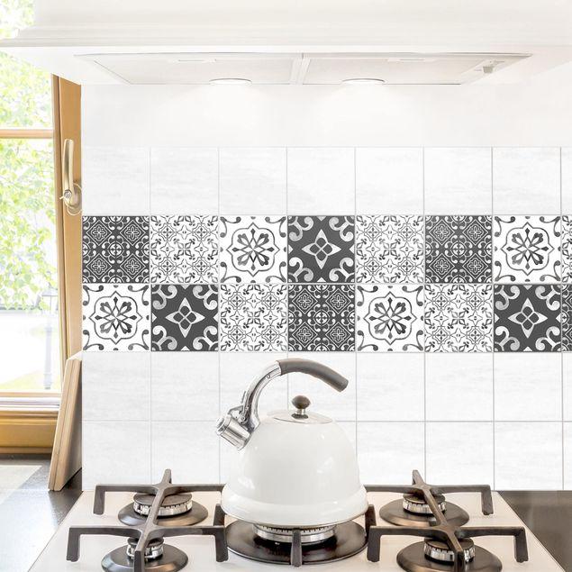 Produktfoto Fliesenaufkleber 4er Set - Aquarell Muster Grau Weiß No.2 - 15cm x 15cm Fliesensticker Set