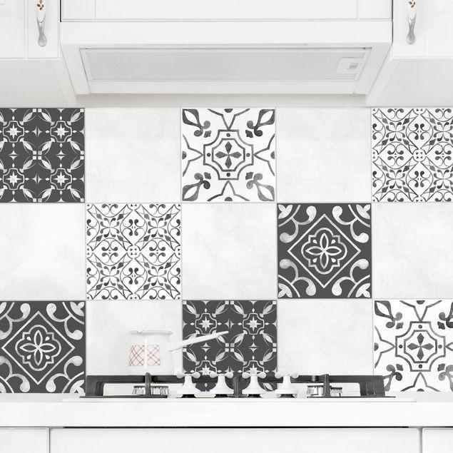 Produktfoto Fliesenaufkleber 4er Set - Aquarell Muster Grau Weiß No.3 - 15cm x 15cm Fliesensticker Set