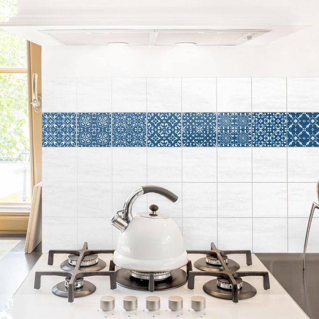 Produktfoto Fliesenaufkleber 9er Set - Dunkelblau Weiß Muster Serie - 15cm x 15cm Fliesensticker Set