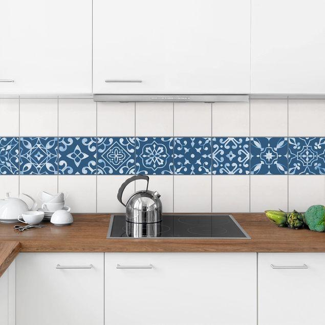 Produktfoto Fliesenaufkleber 9er Set - Muster Dunkelblau Weiß Serie - 15cm x 15cm Fliesensticker Set