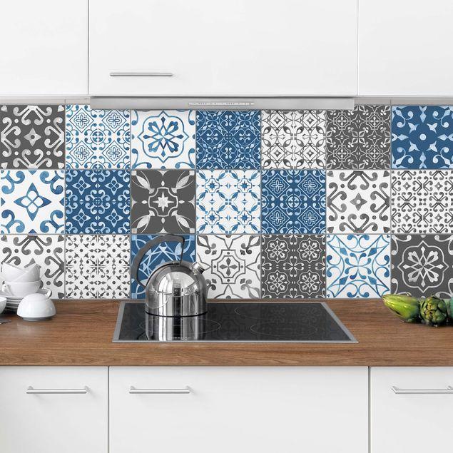 Produktfoto Fliesenaufkleber 20er Set - Aquarell Muster Mix Grau Blau - 20cm x 20cm Fliesensticker Set