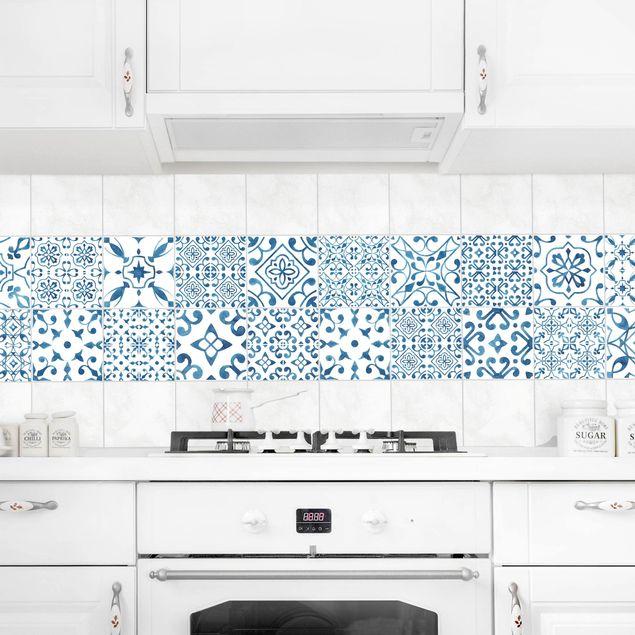 Produktfoto Fliesenaufkleber 20er Set - Blau Weiß Muster Mix - 20cm x 20cm Fliesensticker Set