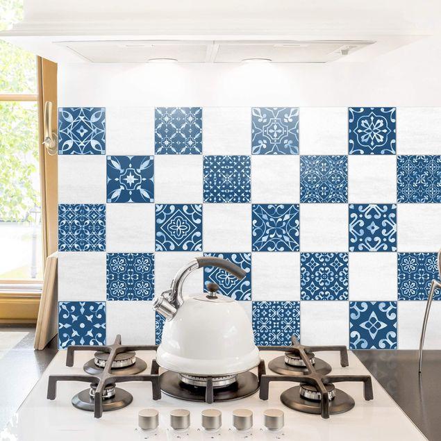 Produktfoto Fliesenaufkleber 20er Set - Muster Mix Dunkelblau Weiß - 20cm x 20cm Fliesensticker Set